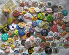 EXCELLENT VINTAGE collection mixed job lot metal promotional pin button BADGES
