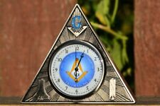 Masonic Square and Compasses Desk Clock - Office - Paperweight - Freemasons