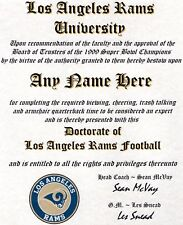 Los Angeles Rams Football ~ Man Cave ~ Certificate ~ Diploma Gift