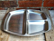 Vintage 1960s Danish Stainless Steel Serving Compartments Dish Tray Mid Century
