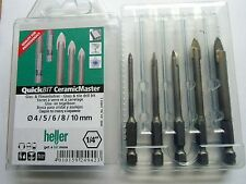 German Quality Heller QuickBit  Tile and Glass drill bit set + 7mm FREE