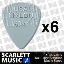 6 x Jim Dunlop Nylon Standard Greys .60mm Guitar Picks Plectrums 0.60 Grey