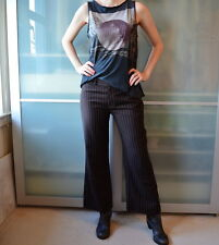 RALPH LAUREN 100% wool brown pinstripe trousers pants ~ petite UK 10