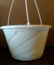"10"" WHITE HANGING BASKETS {Set of 5} Plastic CONTEMPO SWIRL flower pots"