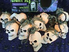 "TATTERED SKULL "" Witch White "" LIGHT SET Skulls Halloween Fun World In The Box"