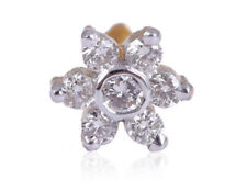 Pave 0.20 Cts Natural Diamonds Floral Nose Stud In Fine Hallmark 18K Yellow Gold
