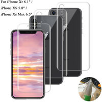 For iPhone Xs Max Xr XS/X Soft TPU Front Back Full Cover Screen Protector Film