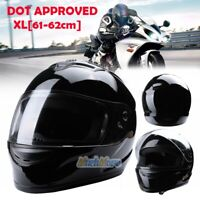 DOT Approved Gloss Black Motorcycle Helmet Full Face Scooter Crash Motorbike XL