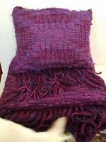 "BEAUTIFUL Rich Woven Purple Wool Art Textile 70"" x 42"" Fringed Blanket & Pillow"