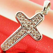 DIAMOND CROSS GENUINE HALLMARKED REAL 9K SOLID WHITE GOLD PAVE ANTIQUE DESIGN