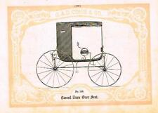 "Catalogue Advertising - Carriages by G & D Cook - ""CARVED TURN OVER SEAT"" - 1860"