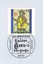 BRD 2012: Kaiser Otto der Große Nr 2949 mit Bonner Ersttagssonderstempel 1A 1907
