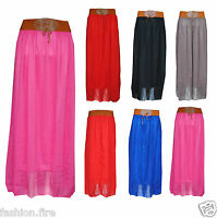 New Womens Ladies Brown Belt Chiffon Lined Long Maxi Skirt One Size UK 8-14
