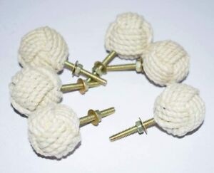 White Cotton Rope Door Knobs/Rope Knot Drawer Pulls and Knobs /Pull and Push