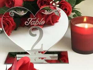 Wedding table numbers silver acrylic. gold, rose gold, clear, purple, red,