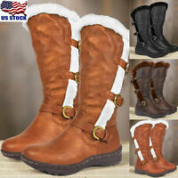 US Women Mid Calf Flat Fur Lined Snow Boots Winter Warm Buckle Zip Up Shoes Size