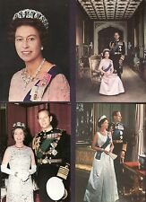 QUEEN ELIZABETH II SET of 4 different VINTAGE POST CARDS