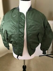 USAF MA-1 Green Flight Jacket By Greenbrier Mnfg Vintage New Made in USA