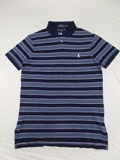 Ralph Lauren Polo Mens Custom Fit Pony Logo Striped Shirt Light Blue/navy Dark Blue S