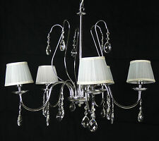 LAMPADARIO LAMPADA 5 LUCI LED CROMO LUCIDO PENDENTI CRISTALLO PARALUMI ART.L57