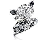 Lady Sly Foxy Fox Animal Crystal Rhinestone Silver Tone Jewelry Ring