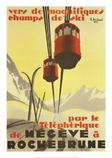 FRENCH VINTAGE POSTER 50x70cm MOUNTAIN LANDSCAPE MEGEVE'S CABLE RAILWAY