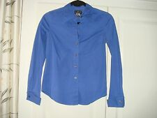 Women's Blue INC Fitted Shirt Cotton Lycra Double Cuff Fitted Top Buttons Collar