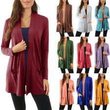 Womens Open Front Cardigan Sweater Fly Away Long Drape Pocket Plus Size S M L XL