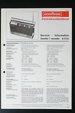 NORDMENDE TRANSITA-RECORDER 6.113 A Orig Service-Manual/Info/Schaltplan! o33