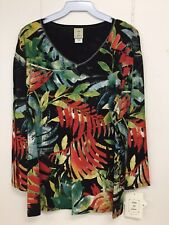 Jess and Jane Tropics Jungle Black Multi-Color Shirt New with Tags
