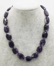 amethyst falt faceted  15*20mm  necklace 17inch nature beads wholesale fashion