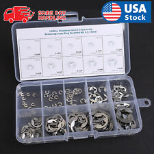 120Pcs 304 Stainless Steel E-Clip Retaining Circlip Assortment Kit 1.5mm to 10mm