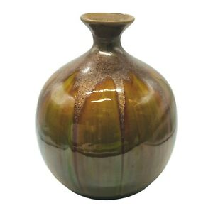 """Large Studio Pottery Vase Brown Green Round 10.5""""H, 8""""W Heavy"""