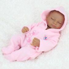 "Realistic African American Reborn Baby Doll Lifelike Dolls 10"" Full Vinyl Girl"