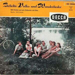 WILL GLAHE: Beliebte Volks- und Wanderlieder (EP Decca DX 2046 / Mono / NM)