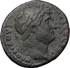 HADRIAN Bisexual Emperor BIG Ancient Roman Coin Salus Health Cult  i54423