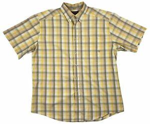 Ariat Pro Series Mens Vented Short Sleeve Button Down Plaid Shirt Yellow XL