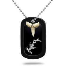 Real Shark Tooth Necklace Aluminum Dog Tag with Hammerhead Design - AN108