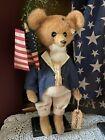 NEW  Primitive Handmade Patriotic Folk Art GEORGE WASHINGTON Americana Bear
