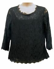 Womens Ladies Black Lace Lined Long Sleeved Scoop Neck Gypsy Tunic Top Size 18