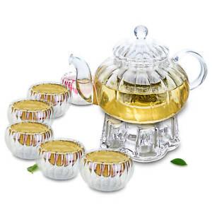 8in1 Pumpkin Shaped Glass Tea Set-1*615ml Heat Resistant Teapot+6*Cups+1*Warmer