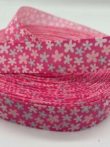 "Star Flower Grosgrain-Ribbon  22mm/7/8"" width  Print-by-the-Metre"