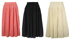 NEW GYPSY  STRETCH WAIST COTTON SKIRT CREAM CORAL BLACK ***TO CLEAR £9.99***