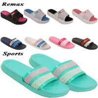 LADIES WOMENS  SLIDERS SLIP ON RUBBER BEACH  SHOWER WATER PROOF SANDAL SLIPPER