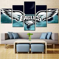 Philadelphia Eagles Modern 5 pcs Painting Printed Canvas Wall Art Home Decor