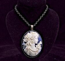 "24"" Vintage Style Curly Hair Victorian Lady Cameo Pendant Necklace"