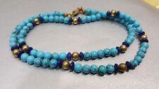 Wunderschöne elegante Damen Edelstein Kette Halskette Collier Türkis 45,5 cm 14g