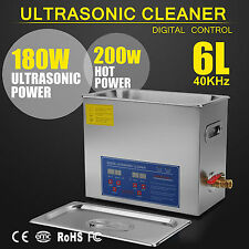 380W New Stainless Steel 6 L Liter Industry Heated Ultrasonic Cleaner w/Timer