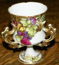 Nippon Japan Hand Painted M. M. Signed Moriage Loving Cup with Three Handles