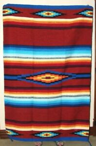 Southwestern Area Rug Woven  Lg 4x6 ft Saltillo Mexican RUSTY BROWN